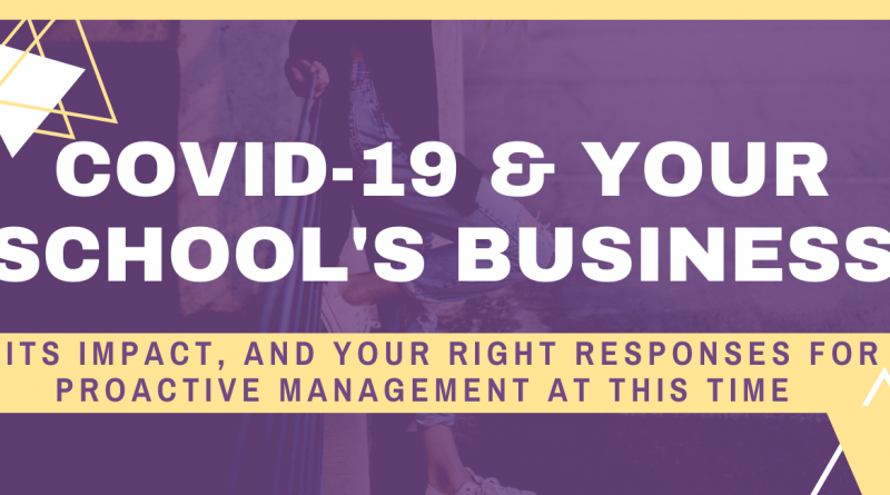 COVID 19 & YOUR SCHOOL BUSINESS – Its Impact & Your Right Responses For Proactive Management At This Time